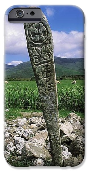 Cross Slab, Dingle Peninsula, Co Kerry iPhone Case by The Irish Image Collection