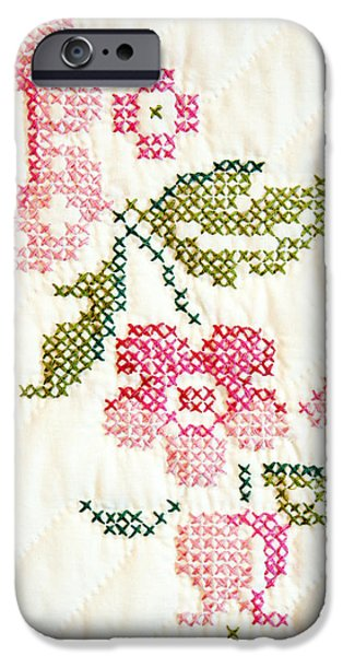 Cross Stitch Flower 1 iPhone Case by Marilyn Hunt