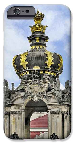 Polish Culture iPhone Cases - Crown Gate - Kronentor Zwinger Palace Dresden iPhone Case by Christine Till