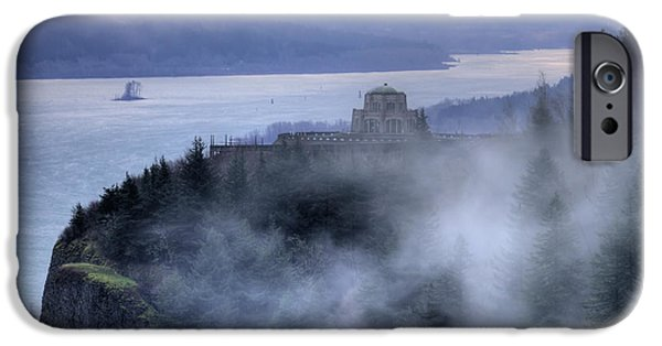 Crown iPhone Cases - Crown Point Vista House Fog Columbia River Gorge Oregon iPhone Case by Dustin K Ryan