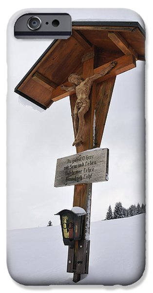 Wayside Cross iPhone Cases - Crucifix in winter landscape iPhone Case by Matthias Hauser