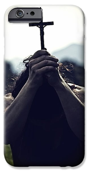Begging iPhone Cases - Crucifix iPhone Case by Joana Kruse