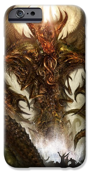 Concept Art iPhone Cases - Cthulhu Rising iPhone Case by Alex Ruiz
