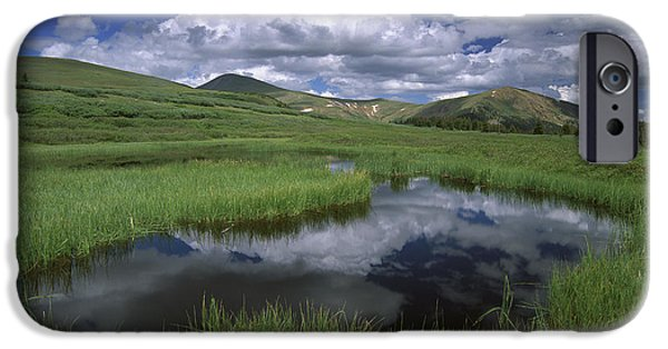 Arapaho iPhone Cases - Cumulus Clouds Reflected In Pond iPhone Case by Tim Fitzharris