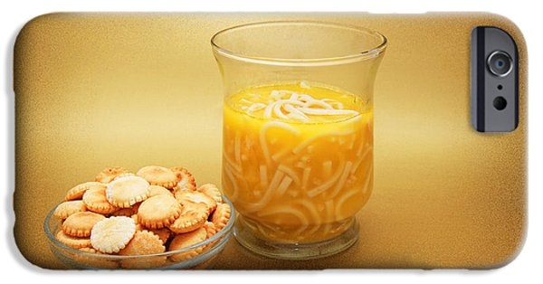 Flu iPhone Cases - Cup O Soup And Oyster Crackers iPhone Case by Andee Design