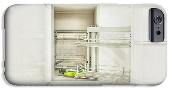 Storage Furniture iPhone Cases - Cupboard With Stainless Steel Racks iPhone Case by Lawren Lu