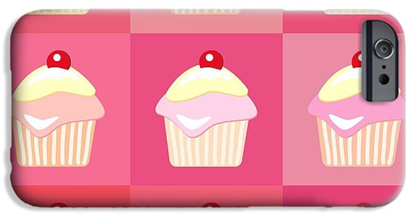 Pinks iPhone Cases - Cupcakes pop art  iPhone Case by Jane Rix