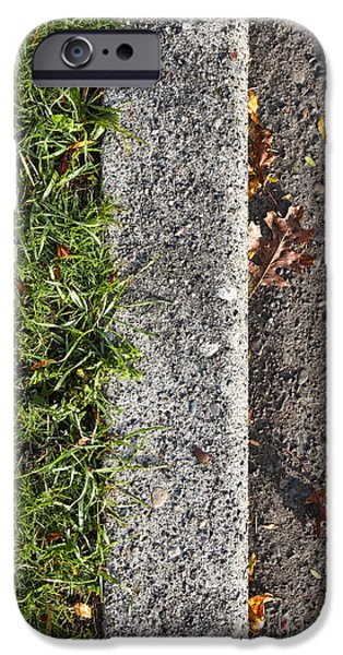 Asphalt iPhone Cases - Curb and Grass iPhone Case by Paul Edmondson