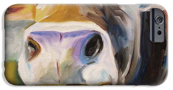 Barnyard Animals iPhone Cases - Curious Cow iPhone Case by Donna Tuten