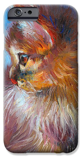 Cat Drawings iPhone Cases - Curious Tubby Kitten painting iPhone Case by Svetlana Novikova