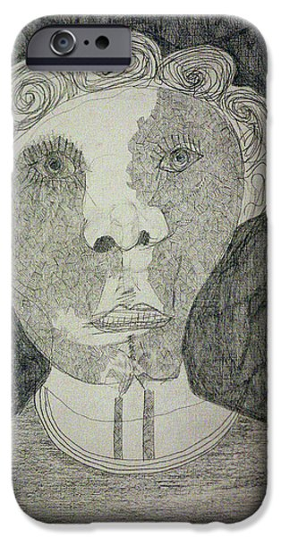 Gray Hair iPhone Cases - Curly Haired Man iPhone Case by Anon Artist
