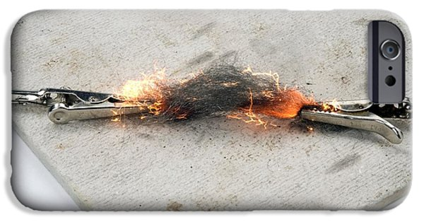 Electrical Equipment iPhone Cases - Current Melting Steel Wool iPhone Case by Trevor Clifford Photography
