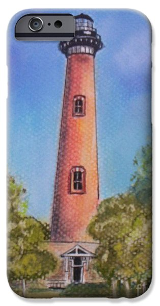 Rust Pastels iPhone Cases - Currituck Lighthouse NC iPhone Case by Julie Brugh Riffey