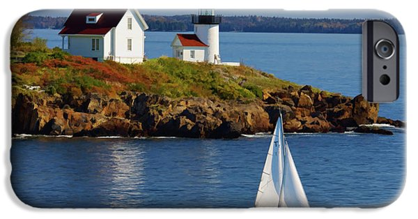 Lobster Bouys iPhone Cases - Curtis Island Lighthouse - D002652b iPhone Case by Daniel Dempster