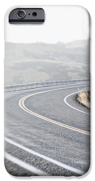 Curving Two Lane Road iPhone Case by Jetta Productions, Inc