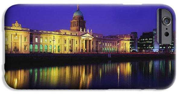 Reflections Of Sky In Water iPhone Cases - Custom House, Dublin, Co Dublin iPhone Case by The Irish Image Collection