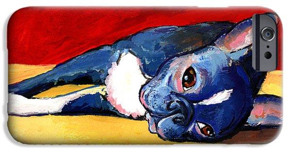 Cute Puppy iPhone Cases - Cute sleepy Boston Terrier dog painting print iPhone Case by Svetlana Novikova
