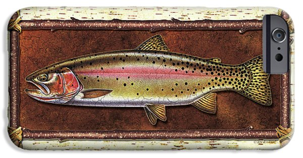 Cabin iPhone Cases - Cutthroat Trout Lodge iPhone Case by JQ Licensing