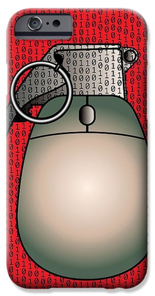 Recently Sold -  - Cyberspace iPhone Cases - Cyber Warfare, Conceptual Artwork iPhone Case by Stephen Wood