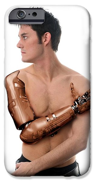 Cybernetic Arm, Composite Image iPhone Case by Victor Habbick Visions
