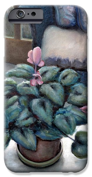 Interior Still Life Paintings iPhone Cases - Cyclamen and Wicker iPhone Case by Michelle Calkins