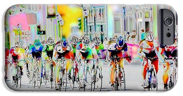 Athlete Digital Art iPhone Cases - Cycling Down Main Street USA iPhone Case by Vicki Pelham