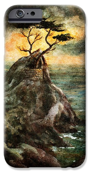 Grunge Digital iPhone Cases - Cypress Tree in Storm iPhone Case by Laura Iverson