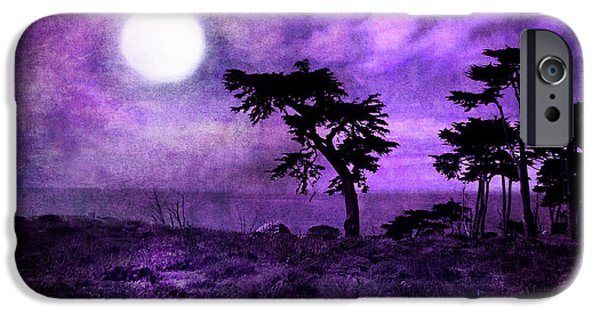 Monochromatic Digital Art iPhone Cases - Cypress Trees at Sutro Heights iPhone Case by Laura Iverson