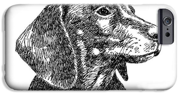 Pen And Ink iPhone Cases - Dachshund-Drawing-2 iPhone Case by Gordon Punt