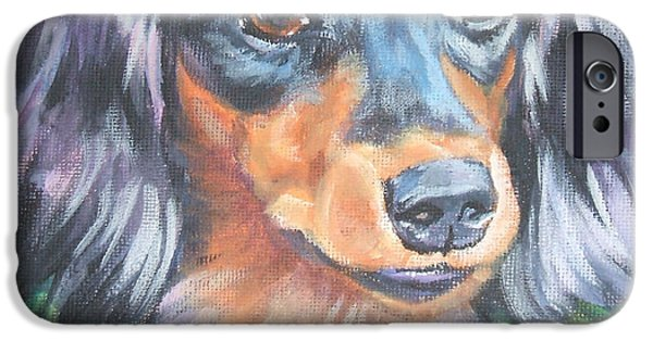 Dachshund iPhone Cases - Dachshund long haired iPhone Case by Lee Ann Shepard