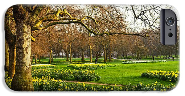 Meadow Photographs iPhone Cases - Daffodils in St. Jamess Park iPhone Case by Elena Elisseeva