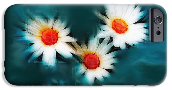 Floral Digital Art Digital Art Photographs iPhone Cases - Daisy Blue iPhone Case by Linda Sannuti