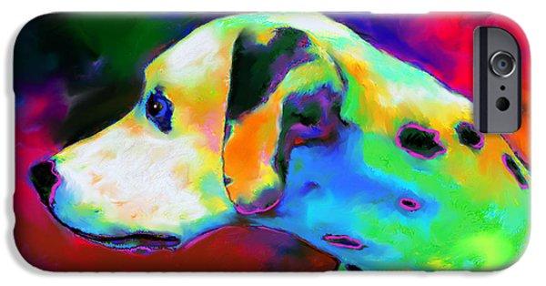 Dog Prints Digital Art iPhone Cases - Dalmatian Dog Portrait iPhone Case by Svetlana Novikova