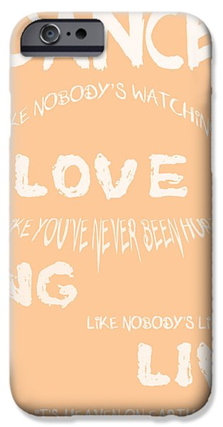 Dance Like Nobody's Watching - Peach iPhone Case by Nomad Art And  Design