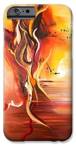 Tangerine Paintings iPhone Cases - Dance of Passion iPhone Case by Michelle Wiarda