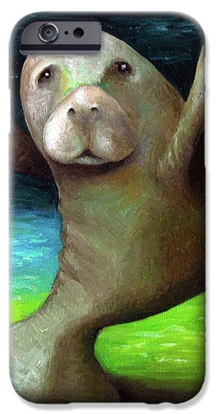 Manatee iPhone Cases - Dance of the Manatee iPhone Case by Leah Saulnier The Painting Maniac