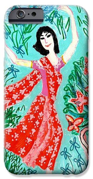 Sue Burgess Ceramics iPhone Cases - Dancer in red sari iPhone Case by Sushila Burgess