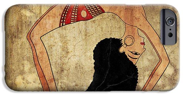 Ballerina Artwork iPhone Cases - dancer of Ancient Egypt iPhone Case by Michal Boubin