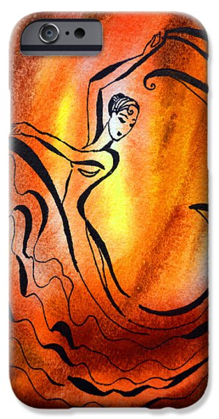 Abstraction iPhone Cases - Dancing Fire I iPhone Case by Irina Sztukowski