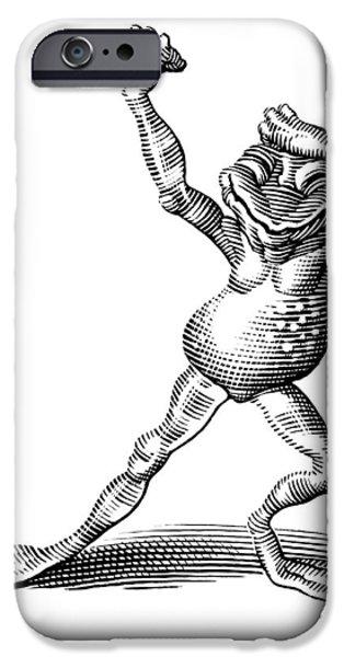 Linocut iPhone Cases - Dancing Frog, Conceptual Artwork iPhone Case by Bill Sanderson