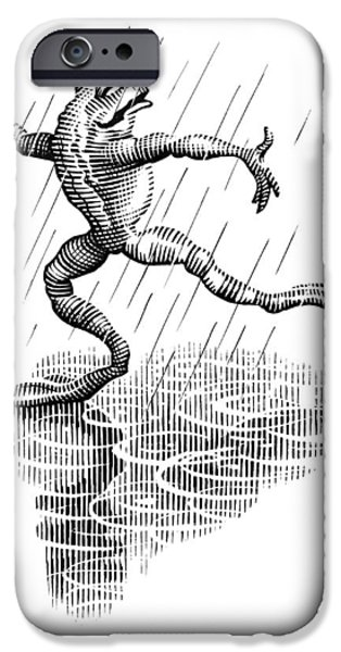 Dancing In The Rain, Conceptual Artwork iPhone Case by Bill Sanderson