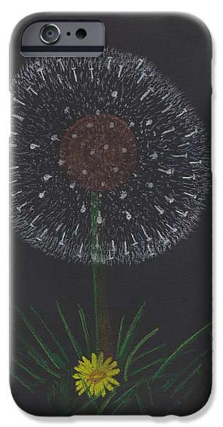 Fauna Pastels iPhone Cases - Dandelion iPhone Case by Jose Valeriano