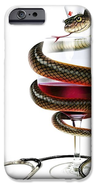 Serpent iPhone Cases - Dangers Of Alcoholism, Conceptual Image iPhone Case by Smetek