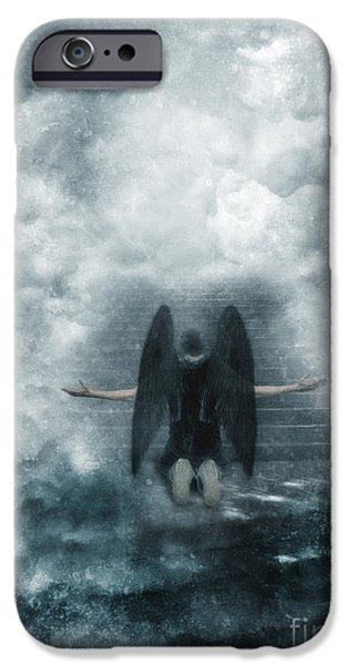 Fallen Angels iPhone Cases - Dark Angel Kneeling on Stairway in the Clouds iPhone Case by Jill Battaglia