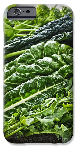 Swiss Chard iPhone Cases - Dark green leafy vegetables iPhone Case by Elena Elisseeva