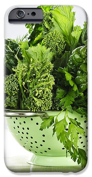 Dark green leafy vegetables in colander iPhone Case by Elena Elisseeva