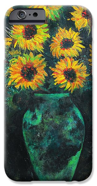 Pallet Knife Paintings iPhone Cases - Darkened Sun iPhone Case by Carrie Jackson