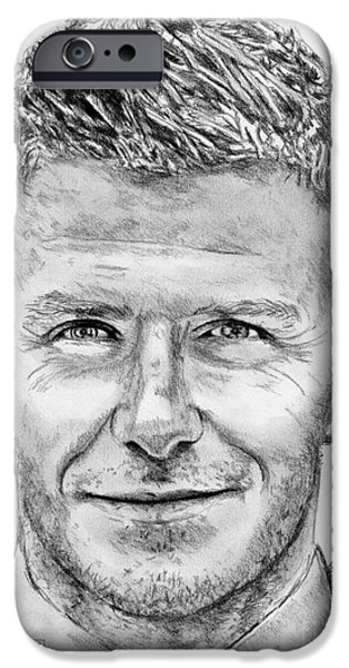 Celebrities Art iPhone Cases - David Beckham in 2009 iPhone Case by J McCombie