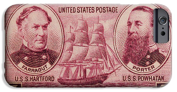 David iPhone Cases - David Glasgow Farragut and David Porter postage stamp iPhone Case by James Hill