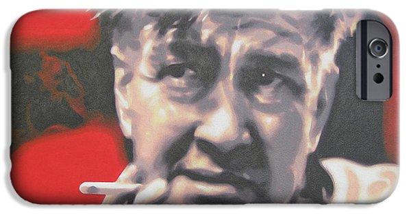 Ludzska Paintings iPhone Cases - David Lynch iPhone Case by Luis Ludzska